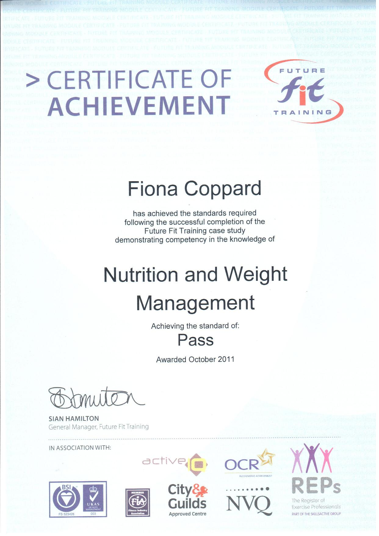 Fiona - certified in Nutrition and weight management