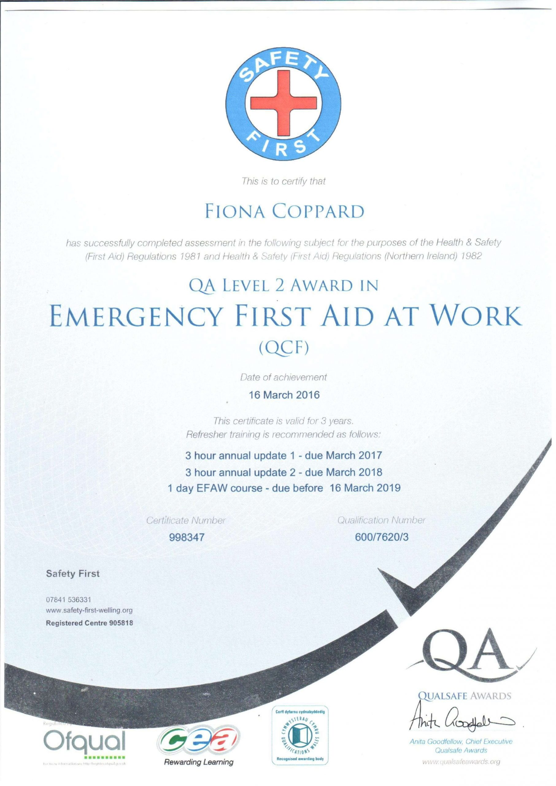 Fiona - emergency first aid at work certified